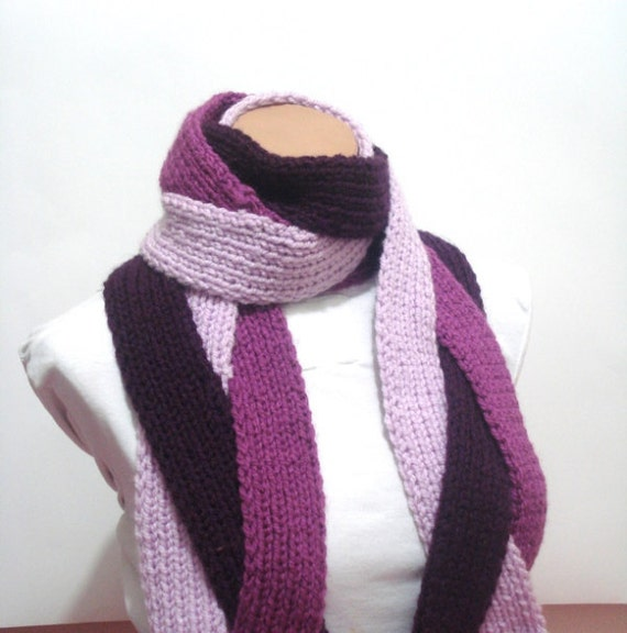 knit scarf, Hand Knitted Scarf, Lilac Maroon violet Long Fringle Women Hand knitted Scarf Nice chrismas gift ideas for woman, chunky scarf