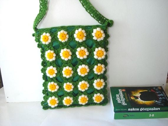 bag, Crochet Daisy Flower back to school Messenger Bag, Afghan Crochet ...