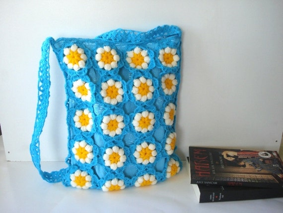 Summer bag, Crochet Daisy Flower bag Diaper bag, Afghan Crochet Bag ...