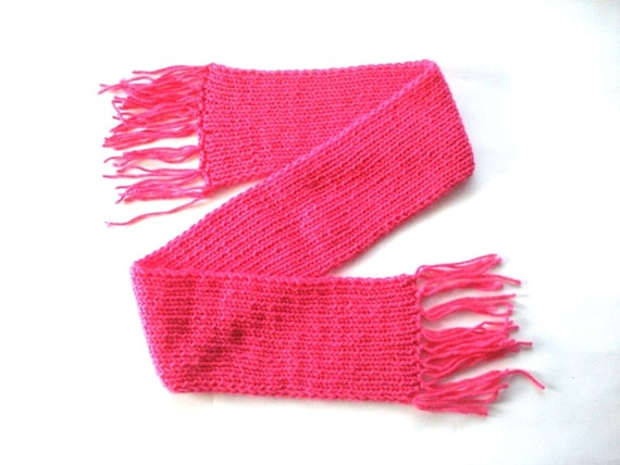 Fuchsia Pink Girls Scarf Knitted Kids Scarves, royal pink, crochet scarf, thick scarves with fringe, womens scarf