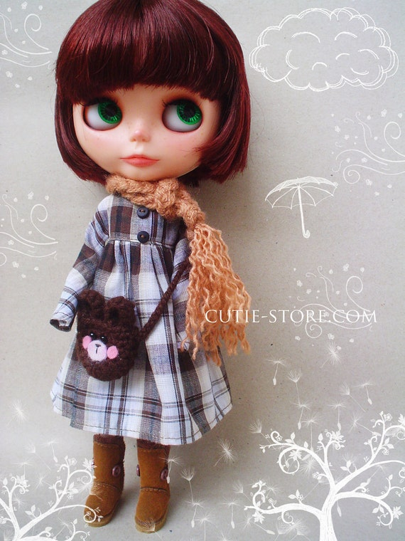 Reserved for ART - Cutie Dress Brown and Bear Bag