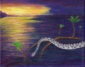 Diamondback Rattlesnake  in the Everglades Original Painting Free Shipping