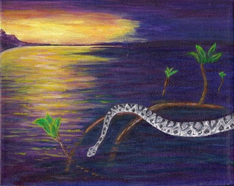 Diamondback Rattlesnake  in the Everglades Original Painting Free Shipping