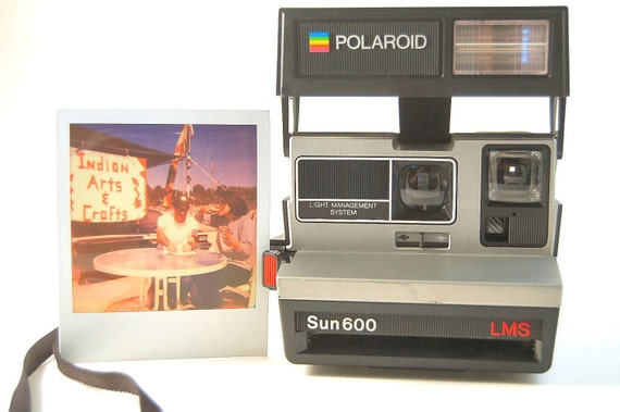 TESTED 80's Polariod Sun 600 LMS, Summer Fun Working Instant Film Camera, Takes Impossible Film