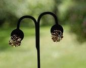 Vintage Lisner Amber Rhinestone Earrings