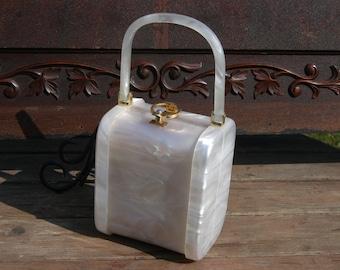 Vintage 1950's White Sculptural Stylecraft Lucite Plastic Handbag