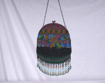 Vintage Antique Oval Glass Beaded Handbag with Looped Fringe