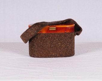 Vintage Copper Oval Carnival Beaded Handbag