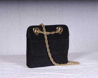Vintage 1960's-70's Suede handbag with Chain Handle