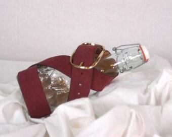 Vintage Wine Colored Suede Belt Marked SUEDED COWHIDE SPLIT 34-36