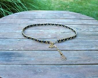 Gold Chain and Dark Navy Vinyl Belt with Tassel