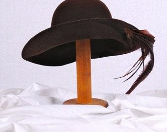 Vintage Frank Olive Brown Wool HAT