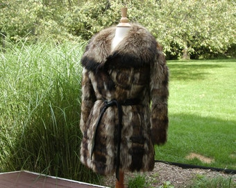 Vintage Oleg Cassini Raccoon Coat