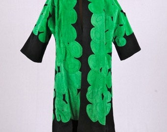 Vintage Custom Made Suede Black and Green Coat
