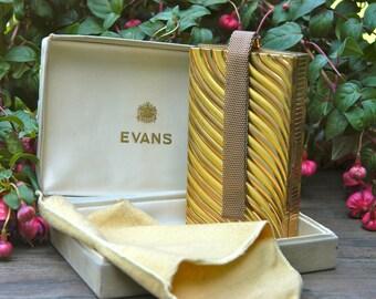 Vintage Evans Goldtone Vanity Carryall Style Case with Original Box