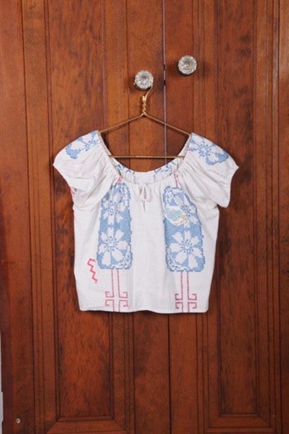 Vintage Table Cloth Peasant Blouse