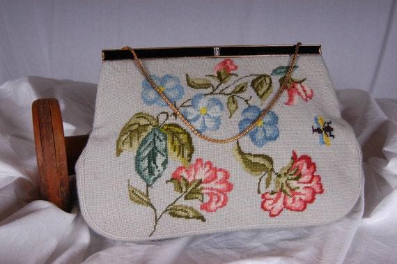 Vintage Christine's Custom Bags, Detroit, Michigan Needlepoint Handbag