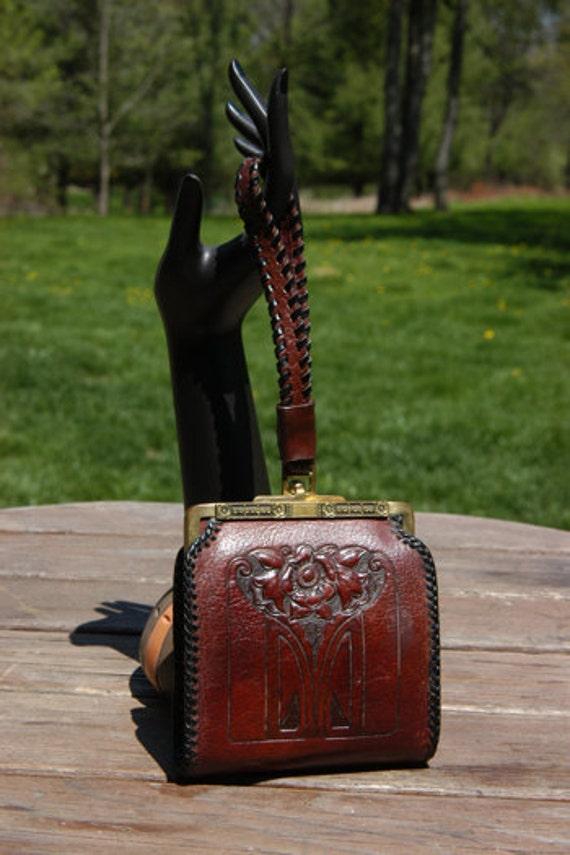 Unsigned Vintage Arts & Craft Hand Tooled Leather Wristlet