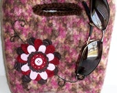 Felted City Clutch Purse - Handmade, Embroidered, Felt Flower  (READY TO SHIP)