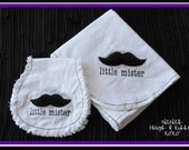 Little Mister Mustache Blanket and Burp Cloth (Burp Rag) Set, Custom Order