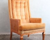 Tangerine and copper leaf retro arm chair