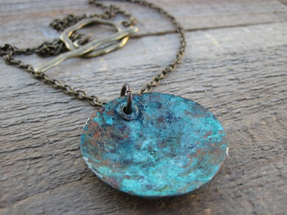 Boho Necklace- Copper pendant with bluish green patina