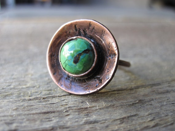 Turquoise ring-copper disc, organic, earthy