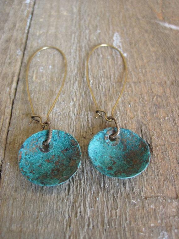 Verdigris Copper Earrings- Bohemian Style