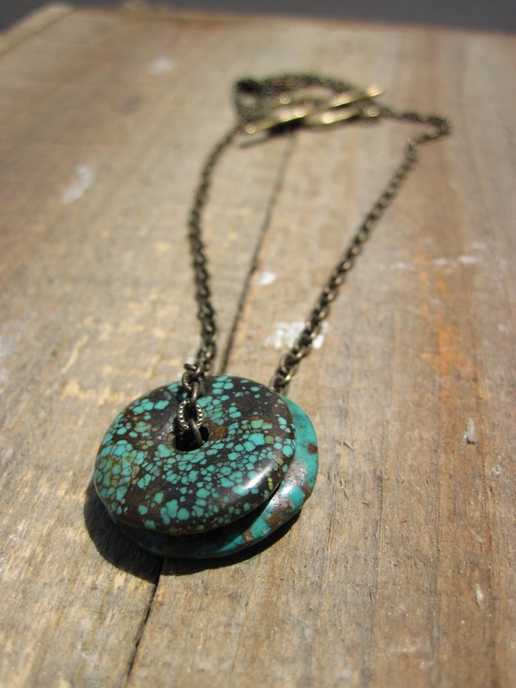 Simply Turquoise- Brass and Turquoise necklace