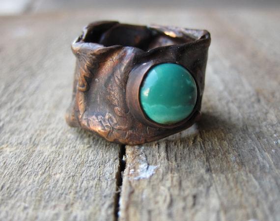 Etched Turquoise Ring- Wabi Sabi Copper Ring