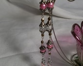 Reserved for Monica Dangle BCR Awareness Pierced Earrings
