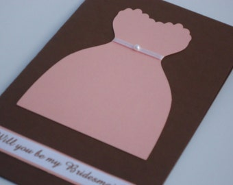 Shimmer Pink and Brown Will You Be My Bridemaid Card