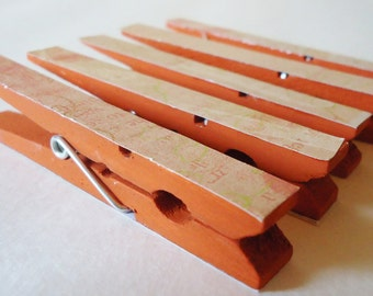 Altered Clothespin Clips Peachy Mango Deep Sunset Orange Set of 5