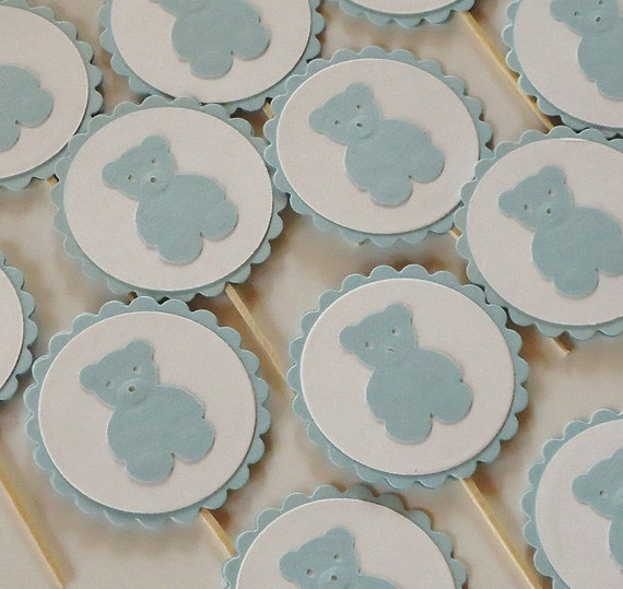 Cupcake Toppers Teddy Bears Light Blue Set of 12