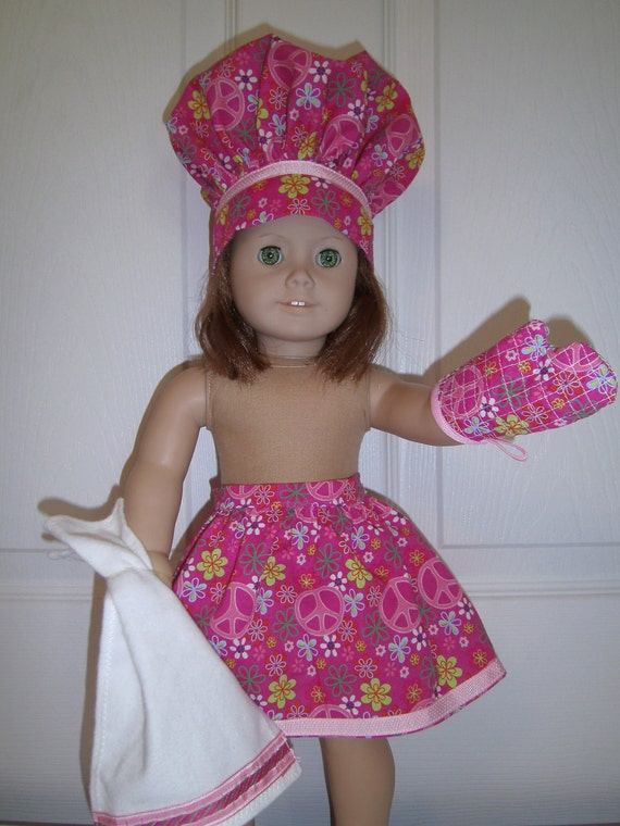 Pink apron set for American Girl doll