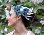 Fall Wedding Birdcage Veil with Bridal Peacock Feather Fascinator