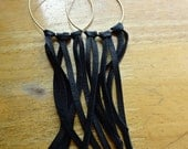 Long Leather & Brass Fringe Earrings