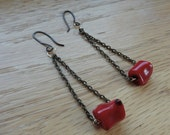 Red Coral & Antiqued Chain Earrings