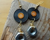 Record & Wire-wrapped Nut Earrings