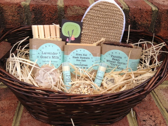 SOAP GIFT BASKET - Handmade Soap and Lip Butter Gift Basket - Soap Set  - Holiday Gift Basket - gift idea