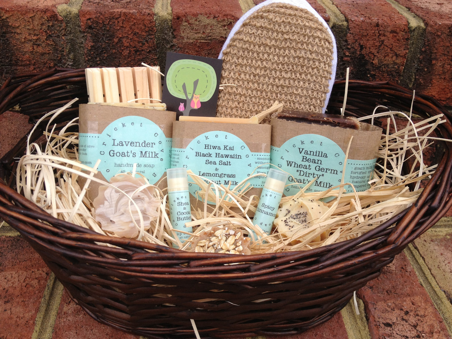 Handmade Soap Baskets : Soap gift basket handmade and lip by cricketcovesoapco