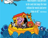 A lion, zebra, elephant, giraffe and other animals on a boat. nursery room digital illustration modern art for kids and teenagers.