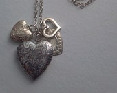 Antique Silver Locket and Hearts Necklace