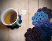 Crochet flower coasters, set of 6 - Deep Aquatic