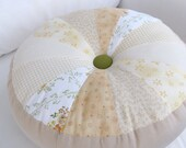 16 Inch Round Throw Pillow - Neutral fabrics with green accent button