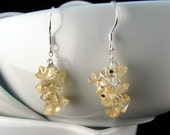 Citrine Cluster earrings with sterling silver