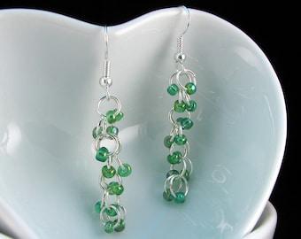 Green Beaded Earrings dangle with green glass czech beads