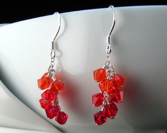 Red Swarovski Cluster Earrings with sterling silver