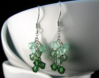 Green Swarovski Cluster Earrings with sterling silver