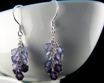 Purple Swarovski Cluster Earrings with sterling silver